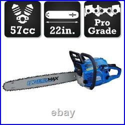 22 in. 57cc Chainsaw Gas Powered 10,500 RPM Max Anti-vibration Function 2-Cycle