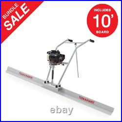 Power Screed Concrete Finishing Float 10ft Blade Board 37.7cc Gas Vibrating Tool